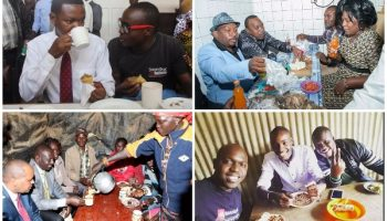 "7 Kenyan Celebrities & Politicians Who Ate In a ""Kibanda"" and Kenyans Loved it"