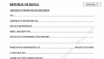 How To Get A Police Abstract Form In Kenya